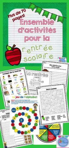 FRENCH Back to school PACK/Ensemble d'activités La rentrée scolaire en français