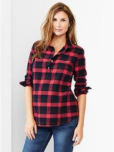 Buffalo plaid flannel popover shirt