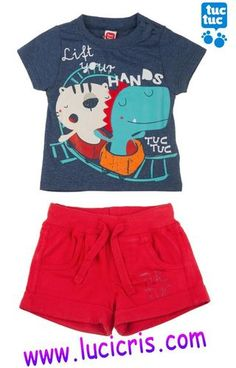 Conjunto TUC TUC Camiseta FUN FAIR+Pantalon Corto Boys And Girls Clothes, Dresses Kids Girl, Baby Boy Outfits, Kids Outfits, Fun Fair, Boys Pajamas, Kids Fashion Boy, Summer Shirts, Boys Shirts