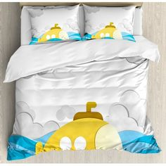 Ambesonne Submarine Decor Submarine over the Wavy Sea Duvet Cover Set Size: Twin Cheap Bedding Sets, Bedding Sets Online, Ruffle Bed Skirts, Ruffle Bedding, Duvet Cover Sets, Comforter Sets, Creative Beds, Cozy Bedroom, Luxury Bedding