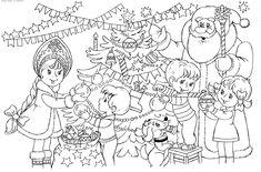Santa And Kids Decorating Christmas Tree Coloring Page - Coloring Ideas