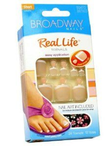 (2 Pack) Broadway nails real life toe nail toenail kit short length + nail art # BRTN03 by Kiss. $2.81. Comes with pink gel glue 2 g, nail art and manicure stick.. Short length. Glue on nails.. (2 pack) Item BABY BRTN03. 24 toenails in 12 sizes.. Hard to find item!