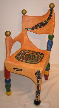 stuhl-hundertwasser chair-hundertwasser lighting, , Art Deco Art Deco Furniture FinArt Deco Exotic Burl And Art Furniture, Funky Furniture, Unique Furniture, Painted Furniture, Furniture Design, Woodworking Projects Plans, Teds Woodworking, Gaudi, Cow Kitchen Decor