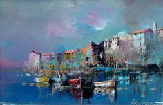 Branko Dimitrijevic - Boats at Dusk, Oil on canvas, Renoir Paintings, Impressionist Paintings, Paintings I Love, Landscape Paintings, Landscapes, Watercolor Artists, Watercolor Paintings, Watercolour, Boat Art