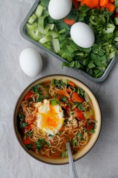 Tips to 'Healthifying' Instant Noodles (sans the seasoning and add a ton of veggies + eggs)