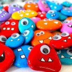 Hand Painted Monster rocks from the shores of by OneLittleStone
