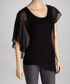 Take a look at this Black Asymmetrical Layered Top on zulily today!