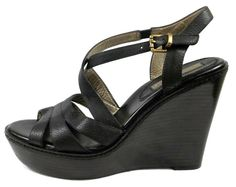 Banana Republic Shoes Womens 9.5 B Black Leather Slingback Platform Wedge Heels #BananaRepublic #PlatformsWedges