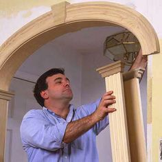 Create an archway for a more dramatic impact and architectural interest. For full step-by-step instructions, shopping list, and tools list, see How to Create an Archway. Home Renovation, Home Remodeling, Decoration Shabby, Plafond Design, Moldings And Trim, Faux Crown Moldings, Diy Crown Molding, Timber Mouldings, Shoe Molding