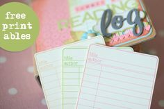 free printable pastel library journaling cards <3