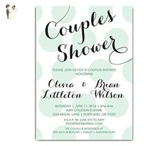 Polka Dot Couples Shower Invitation - Couples Shower Invite - Couples Shower Invitations - Mint Green or Pink Colors Available - 5x7 - Wedding party invitations (*Amazon Partner-Link)