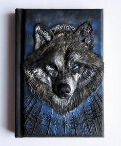 Wolf polymer journal forest 200 blank pages Polymer Clay Art, Handmade Polymer Clay, Polymer Journal, Wolf Book, Canson, Cool Notebooks, Journal Covers, Book Of Shadows, Bookbinding