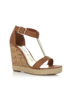Tan Metal Tube T-Bar Woven Wedges, New Look