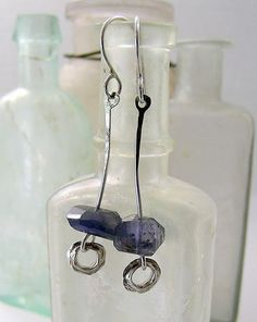 kathy van kleeck: iolite stiletto earrings, fine and sterling silver