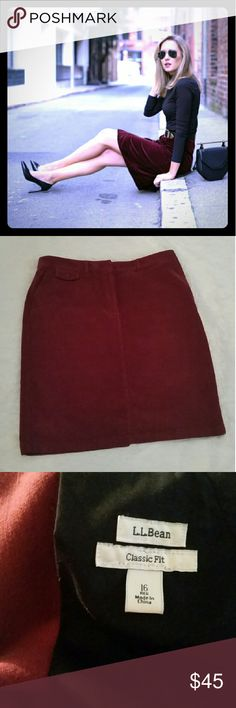 Corduroy Skirt Burgundy corduroy skirt from LL Bean Size 16 - classic fit New never worn  High quality L. L. Bean garment  Zipper front, back kick pleat 2 side pockets, 1 small front coin pocket and 1 rear pocket with button  98% cotton 2% spandex  23 inches long Waist 18 inches across lying flat Hips, 23 inches across lying flat L.L. Bean Skirts