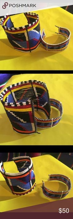 Auth. African Maasai Tribal Cuffs Museum Quality Authentic tribal pieces used by the people. Newer but metal clasps have broken off and if purchased for wear vs. display, need to be altered/replaced for modern use where taking on and off will be more common. Purchased in South Africa. Maasai Jewelry Bracelets
