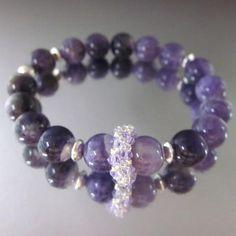 Purple Amethyst Gemstone Silver Crystal Stretch Bracelet - Lexi Butler Designs …