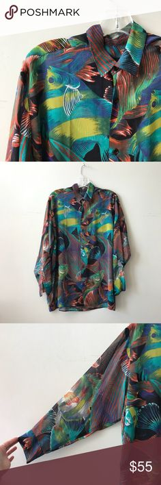 """Irie Fish Blouse Tapered sleeve, sheer, button up fishy blouse.   Approximate measurements when laid flat: Bust 23"""" Sleeves 21"""" Length 27""""  RHC3732-24 Tops Button Down Shirts"""