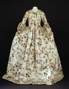 Painted silk, hand-sewn robe and petticoat, c. 1760-1770, from the Victoria and Albert Museum image collection