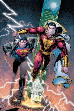 "super-nerd: ""Superman and Captain Marvel (Shazam) by Ian Churchill "" Dc Comics Heroes, Arte Dc Comics, Dc Comics Characters, Comic Book Heroes, Marvel Heroes, Comic Books Art, Comic Art, Captain Marvel Shazam, Hq Marvel"