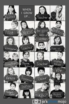 Kindergarten class photo collage of their potential professions. Really cute idea for kindergarten teacher! End Of School Year, Beginning Of School, School Days, High School, Middle School, End Of The Year Class Party Ideas, First Day At School, School Songs, Starting School