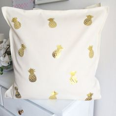 Gold metallic pineapple pillow cover by FancyItPretty on Etsy, $30.00