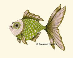 "Whimsical Goldfish Fish Illustration Painting Archival Print 8 X 10 ""Riley"". $21.00, via Etsy."