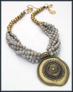 DRAMATIC GRAY - Handcast Tribal Pendant - 5 Strand Gray Feldspar - Handmade African Beads Necklace