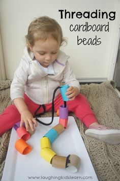 Threading activity for toddlers using large cardboard beads.-Threading activity for toddlers using large cardboard beads., … Threading activity for toddlers using large cardboard beads. Toddler Learning Activities, Games For Toddlers, Motor Activities, Indoor Activities, Sensory Activities, Infant Activities, Toddler Preschool, Kids Learning, Parenting Toddlers