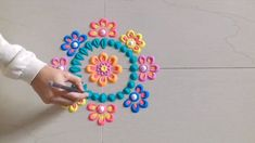 Simple and Easy Rangoli Designs…. Innovative rangoli designs with colours Rangoli Designs Flower, Colorful Rangoli Designs, Rangoli Ideas, Rangoli Designs Diwali, Diwali Rangoli, Flower Rangoli, Flower Designs, Diwali Craft, 3d Drawings