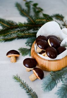Adorable little walnut cookies dipped in dark chocolate. Package them in a tin box for the perfect holiday gift!