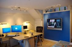 Small office design with unique blend of blue interior design to make the room much more comfortable and stylish
