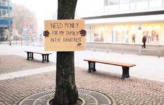 """""""Besoin d'argent pour ma famille la forêt tropicale."""" Campagne d'Oro Verde, the rainforest foundation. #guerilla #marketing #environnement"""