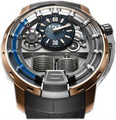 148-TG-32-BF-AG HYT H1 Blue 2 - швейцарские мужские часы наручные, золотые, титановые, серые