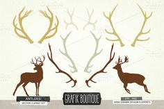 Check out Antlers deer silhouette vector clip by GrafikBoutique on Creative Market