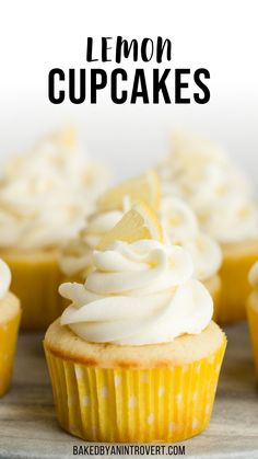 Lemon Cupcakes filled with lemon curd and topped with lemon buttercream frosting. These Lemon filled cupcakes remind me of lemon drop candies, so sweet and tangy! Lemon Layer Cakes, Lemon Cupcakes, Yummy Cupcakes, Filled Cupcakes, Lemon Buttercream Frosting, Lemon Cream Cheese Frosting, Frosting Recipes, Cupcake Flavors, Cupcake Recipes