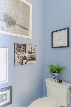 Wall Colour is Benjamin Moore Riviera Azure. Black and white art gallery wall next to toilet with potted fern plant Timeless Bathroom, Classic Bathroom, Simple Bathroom, White Bathroom, Wall Colors, Paint Colors, Colours, Somerset Cottage, Blue Powder Rooms