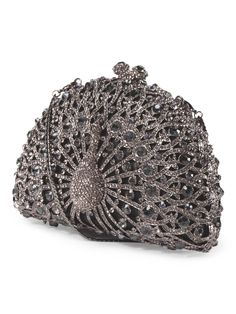 This crystal peacock clutch is so unique!