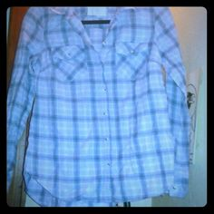 Plaid button down shirt On camera shows up as blue ish but it is actually  a pale purple and grey plaid. Sonoma Tops Button Down Shirts