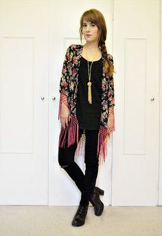 NEW Floral rose print fringe kimono jacket S