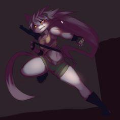 e621 anthro clothing explosives feline female grenade gun hi_res kanel mammal…