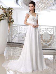 Vestido de noiva marfim decote V em chiffon e renda com cauda - Milanoo.com