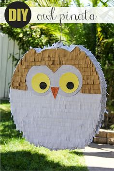 DIY owl pinata filled with Harry Potter and Halloween themed LEGO pieces and candy for a Harry Potter Birthday Party