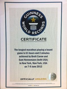 Guinness World Records officially certifies Strat-O-Matic's World Record board game marathon from June 2012! Amazing job by legendary Strat-O-Matic Fanatics Brett Carow and Sam Hennemann on achieving this incredible milestone!