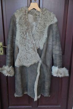 JANE NORRIS Taupe/Mushroom Reversible TOSCANA Very SNUGGLY Coat UK 12