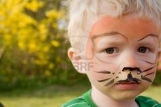 tiger makeup kids - Face paint on child boy as tiger with makeup in garden Lion Face Paint Easy, Mime Face Paint, Tiger Face Paints, Tiger Face Mask, Halloween Makeup, Halloween Face, Halloween Ideas, Halloween Carnival, Halloween 2015