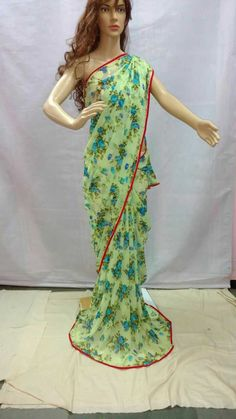 Saree stuff: Synthetic weightless Georgette Length: 6.3 mtr. Blouse: piece available inside saree. Wash: Normal wash