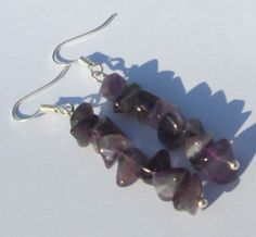 amethyst chips hand made wire wrapped pierced dangle earrings by Ziporgiabella…
