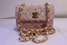 RARE Vintage CHANEL Quilted Pink Sequin Mini Flap Bag with Gold CC Clasp & Chain Strap. at Rice and Beans Vintage http://www.riceandbeansvintage.com
