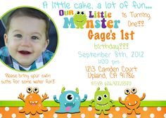 Monster Birthday Party Invitations Party invitations and Birthdays